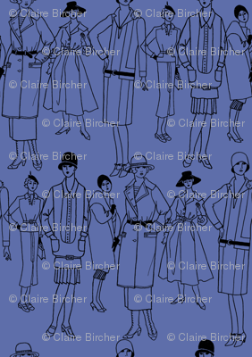 Fashion Parade, black on blue