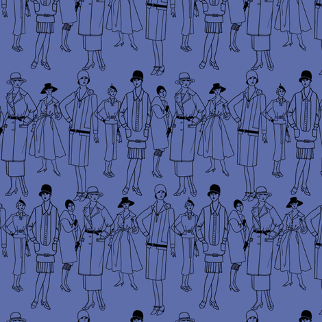 Fashion Parade, black on blue fabric by glanoramay on Spoonflower - custom fabric
