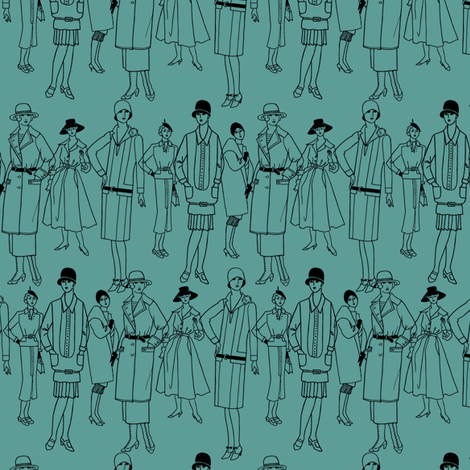 Fashion Parade, black on teal fabric by glanoramay on Spoonflower - custom fabric