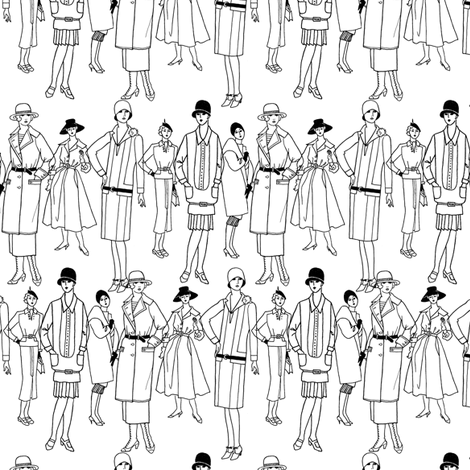 Fashion Parade, black on white fabric by glanoramay on Spoonflower - custom fabric