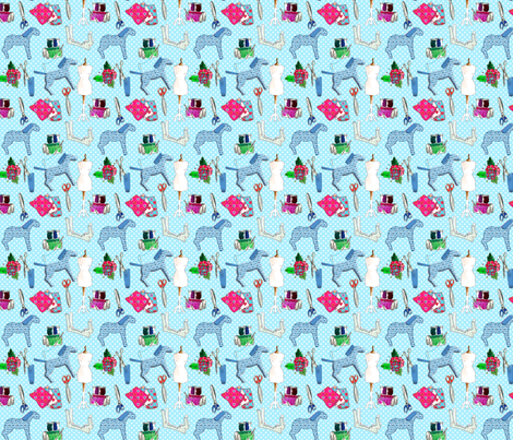 couture amour de couture bleu M fabric by nadja_petremand on Spoonflower - custom fabric