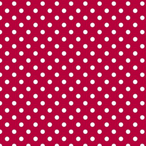 pois blanc fond rouge