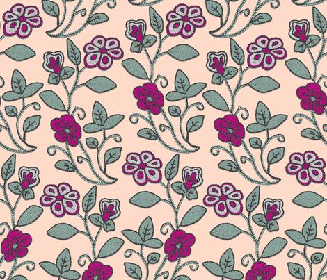 Imitation Crewel Embroidery fabric - Full fabric by bonnie_phantasm on Spoonflower - custom fabric