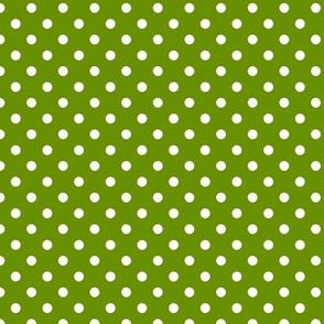 pois blanc fond vert anis
