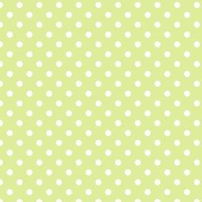 pois blanc fond vert pale