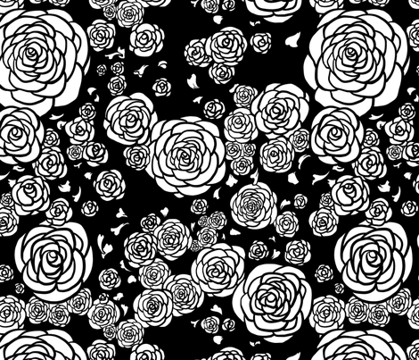 Black Deco Roses fabric by rosalarian on Spoonflower - custom fabric