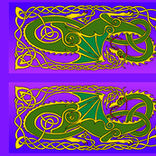 Dragon 6 banner in green and purple