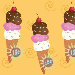 Large Ice Cream Cone  Orange Sherbet