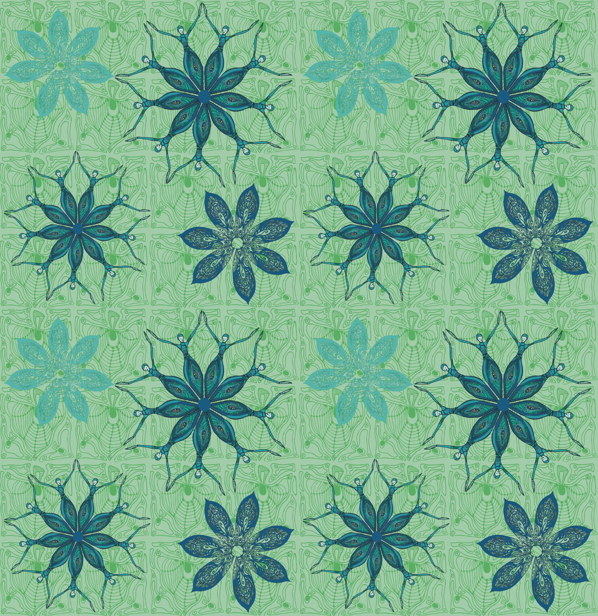 flower dance blue fabric by kirpa on Spoonflower - custom fabric