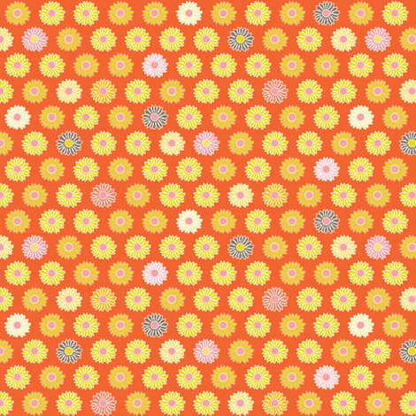 Little Blooms - orange fabric by kayajoy on Spoonflower - custom fabric