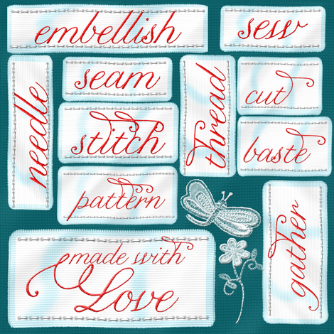 sewn with love fabric by suziwollman on Spoonflower - custom fabric