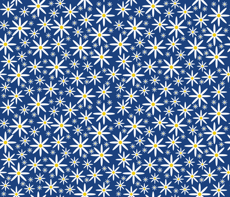 Field of Daisies-Blue fabric by jjtrends on Spoonflower - custom fabric