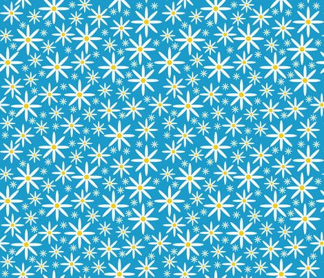 Field of Daisies-Turquoise fabric by jjtrends on Spoonflower - custom fabric