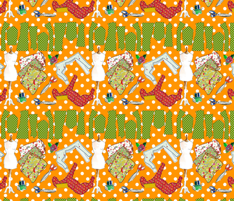 oh ma couture orange fabric by nadja_petremand on Spoonflower - custom fabric