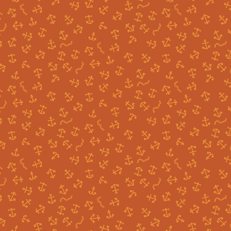 ditsy_anchors_orange fabric by owls on Spoonflower - custom fabric