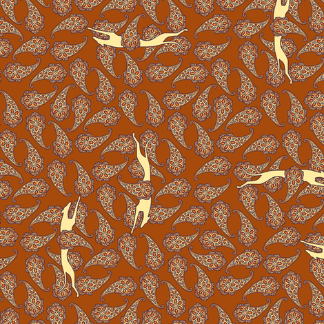 Red Paisley and Running Greyhounds  fabric ©2012 by Jane Walker fabric by artbyjanewalker on Spoonflower - custom fabric
