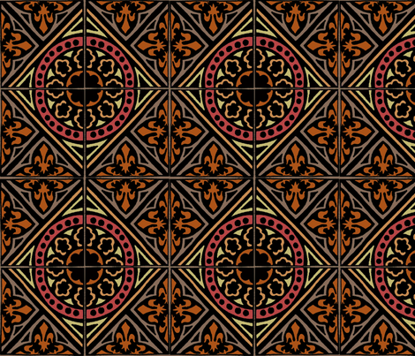 medieval Tile (warm) fabric by narthex on Spoonflower - custom fabric