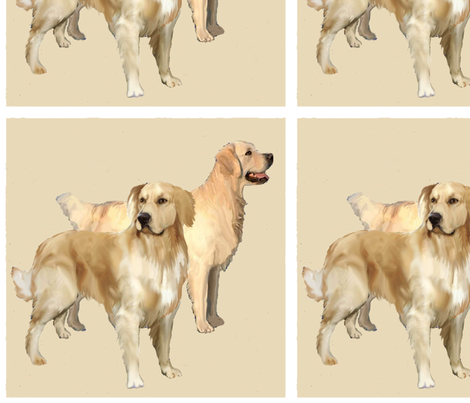 Two golden Retrievers fabric by dogdaze_ on Spoonflower - custom fabric