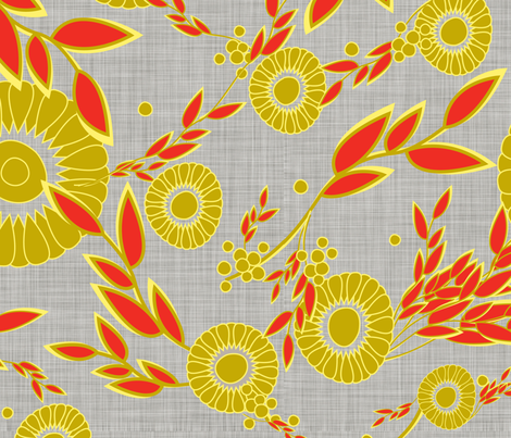 Bouquet_linen fabric by designedtoat on Spoonflower - custom fabric