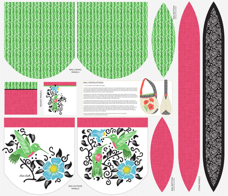 Hummingbird Boat-Bottom Bag fabric by dianne_annelli on Spoonflower - custom fabric