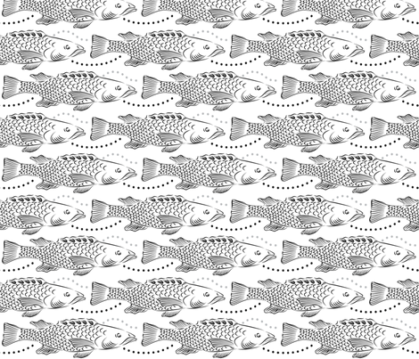 Black and White Fish fabric by dianne_annelli on Spoonflower - custom fabric