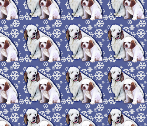 Clumber Spaniel Mom and Puppy fabric by dogdaze_ on Spoonflower - custom fabric