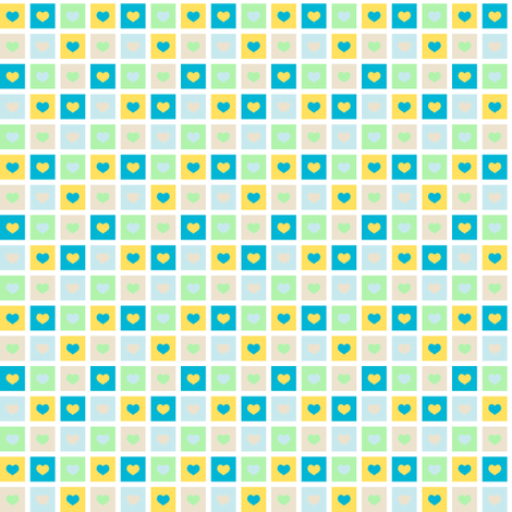 heart_squares_-_blue fabric by pininkie on Spoonflower - custom fabric