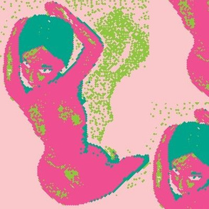 Pixelated Nude in Hot Pink Turquoise Bright Green