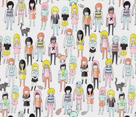 girl gang fabric by youngcaptive on Spoonflower - custom fabric