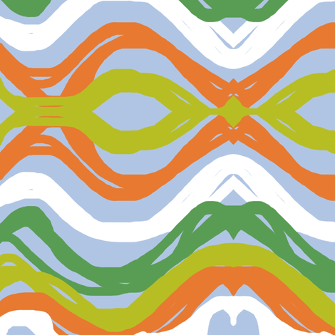 Hometown Waves on Blue fabric by lesliecassidy on Spoonflower - custom fabric