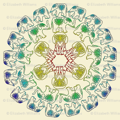 colorful elephant medallions