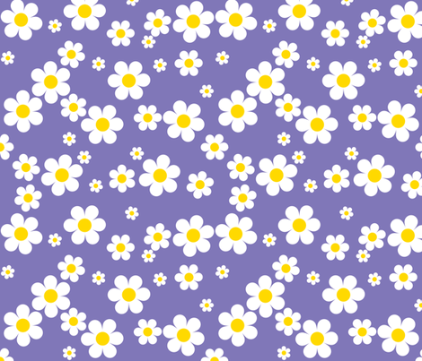 Birdy Daisies Larger Repeat v2.1 fabric by shelleymade on Spoonflower - custom fabric