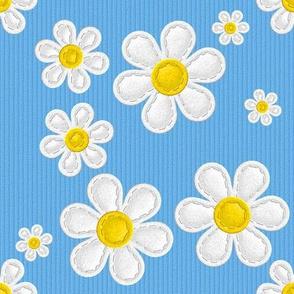 Applique Daisies Aqua Blue v2.1