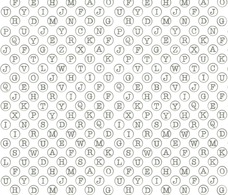 typewriter keys - grey on white fabric by littlemissquarter on Spoonflower - custom fabric