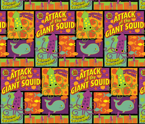 Squid Attack! (neon colorway) fabric by jennartdesigns on Spoonflower - custom fabric