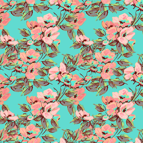 Retro Rockabilly Roses Turquoise fabric by joanmclemore on Spoonflower - custom fabric