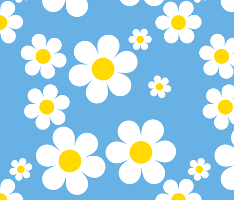 Birdy Daisies Aqua Blue v2.1 fabric by shelleymade on Spoonflower - custom fabric