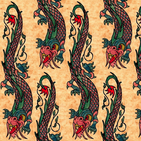 Dragon ink / Vintage fabric by paragonstudios on Spoonflower - custom fabric