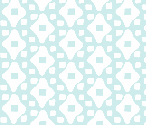Wonky Moroccan Square (lt. aqua & white) fabric by pattyryboltdesigns on Spoonflower - custom fabric