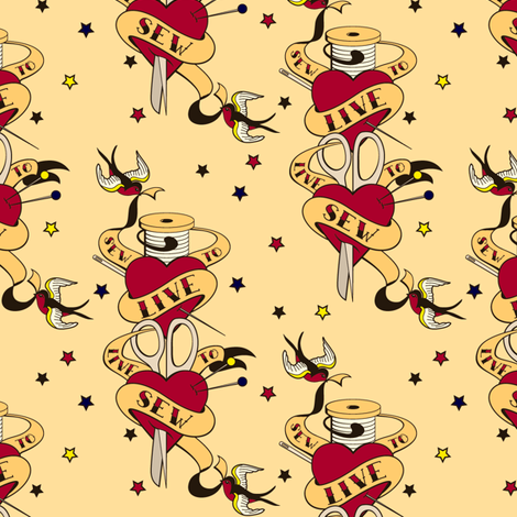 Live to Sew fabric by nanetteregan on Spoonflower - custom fabric