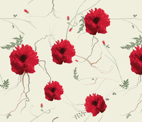 large poppies fabric by lisa_brown on Spoonflower - custom fabric