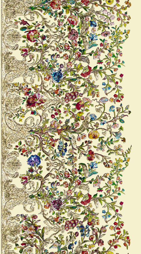 Embroidered Rococo Mantua Skirt Floral Fabric - 2 yds repeat fabric by bonnie_phantasm on Spoonflower - custom fabric