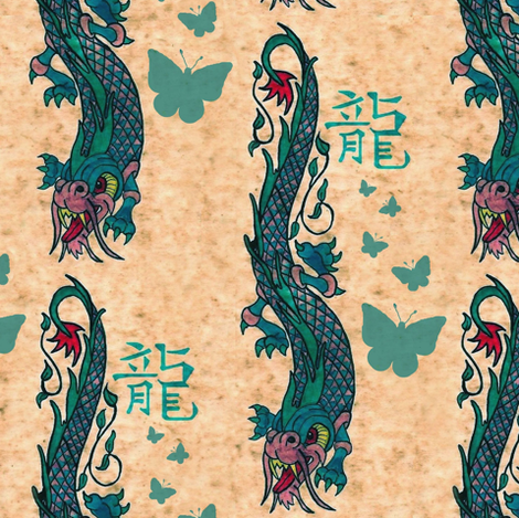 A Dragon & butterflies fabric by paragonstudios on Spoonflower - custom fabric