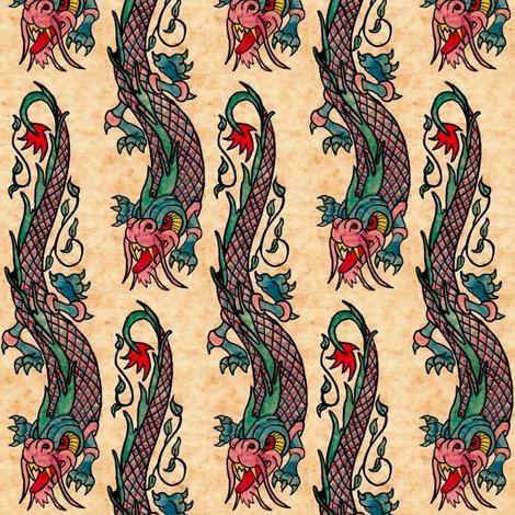 Dragon ink tattoo fabric by paragonstudios on Spoonflower - custom fabric