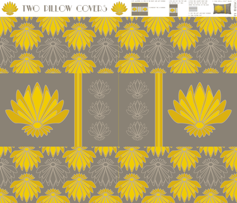 2 lotus Art Deco covers pillow fabric by mariao on Spoonflower - custom fabric