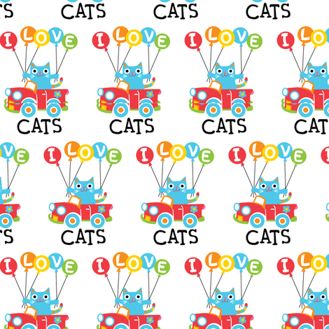 I love cats - balloons fabric by andibird on Spoonflower - custom fabric