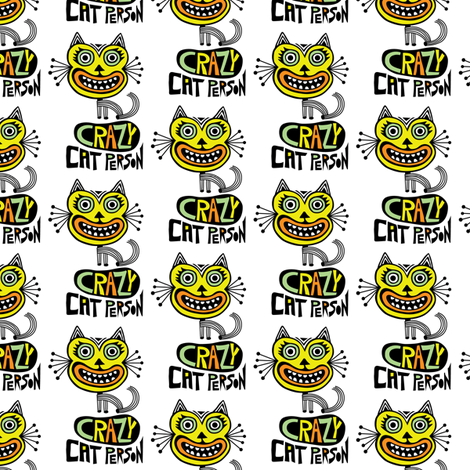 Crazy Cat Person fabric by andibird on Spoonflower - custom fabric