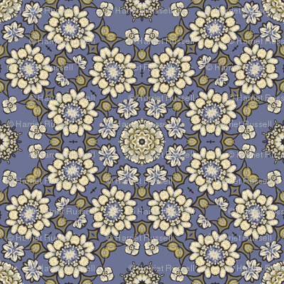 sketchy floral on blue 193049