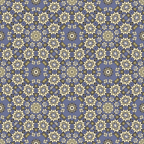 sketchy floral on blue 193049 fabric by thatswho on Spoonflower - custom fabric