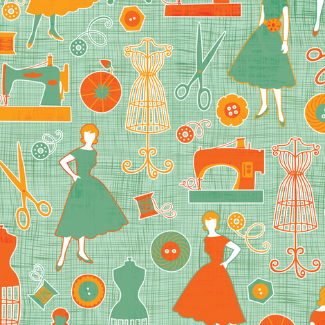 Sew Retro fabric by jennartdesigns on Spoonflower - custom fabric